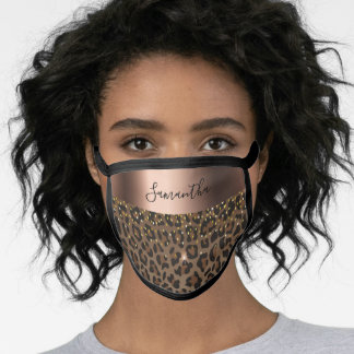 Leopard pattern foil bronze brown glam name face mask