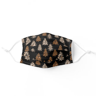 Leopard Print Christmas trees trendy Adult Cloth Face Mask