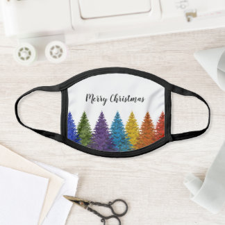 Lesbian Gay Pride Rainbow Flag Christmas Tree Face Mask