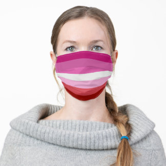 Lesbian Pride Flag Pink, White, Red Stripes Adult Cloth Face Mask