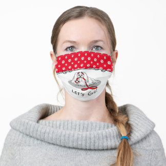 Let's Go! Maltese Dog with Red Leash - Cute Adult Cloth Face Mask