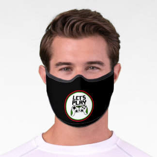 Let's play - green and white game controller Covid Premium Face Mask