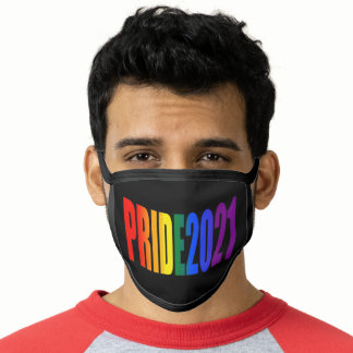 LGBT Pride 2021 Rainbow Flag Typography Black Face Mask