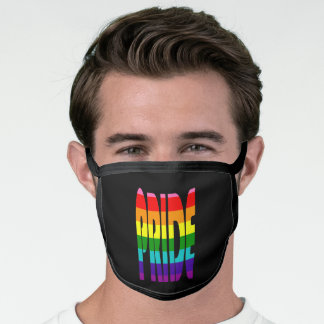 LGBT Pride Rainbow Flag Typography Black Face Mask