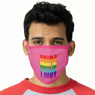 LGBT Pride Rainbow Flag Typography Pink Face Mask