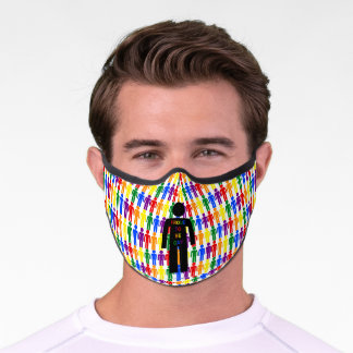 LGBTQ Gay Man Silhouette and Rainbow Men Premium Face Mask