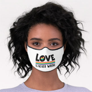LGBTQ gay pride month love is never wrong rainbow Premium Face Mask