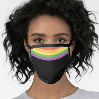 LGBTQ Rainbow Flag on Black Face Mask
