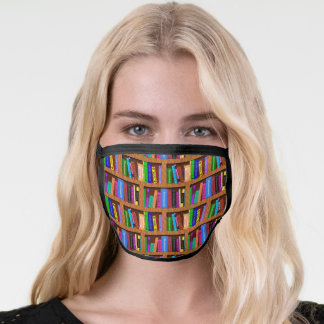 Library Bookshelf Books Reader Pattern Colorful Face Mask