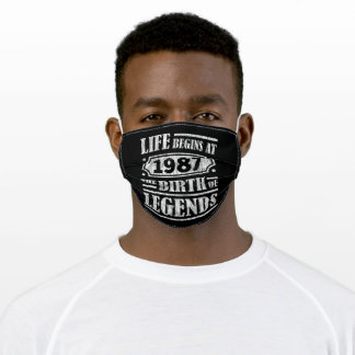 Life Begins 1987 The Birth Of Legend 34th Birthday Adult Cloth Face Mask