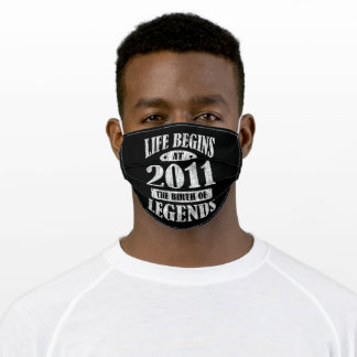 Life Begins 2011 The Birth Of Legend 10th Birthday Adult Cloth Face Mask
