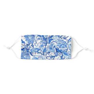 Light And Dark Blue White Floral Paisley Adult Cloth Face Mask