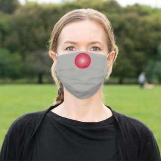 Light Gray solid color with Red Nose Adult Cloth Face Mask