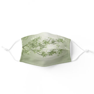 Light green silver leaves tree nature pattern adult cloth face mask
