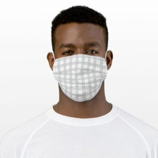 Light Grey Checkered Gingham Like Plaid Adult Cloth Face Mask