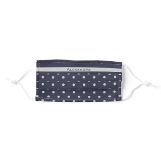 Light Grey on Dark Blue Polka Dots with Your Name Adult Cloth Face Mask