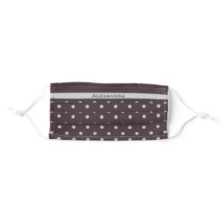 Light Grey on Dusty Plum Polka Dots with Your Name Adult Cloth Face Mask