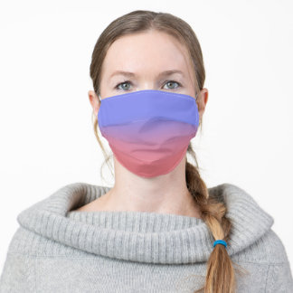 Light Periwinkle and Coral Ombre Adult Cloth Face Mask