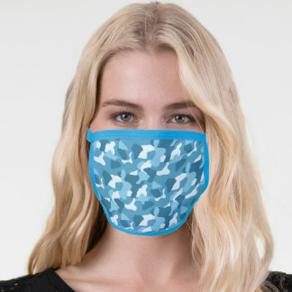Light Sky Blue Camouflage Pattern Face Mask