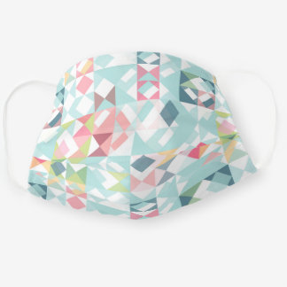 Light Teal Blue Pastel Pink Triangles Squares Adult Cloth Face Mask