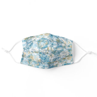 Light Teal Blue Taupe Brown White Gray Polygon Art Adult Cloth Face Mask