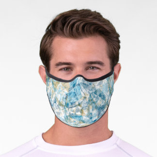 Light Teal Blue Taupe Brown White Gray Polygon Art Premium Face Mask