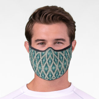 Light Teal Blue Winter Taupe Gray Tribal Inspired Premium Face Mask