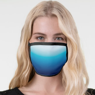 Light to Dark Ocean Blue Ombre Face Mask