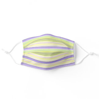 Light Violet Purple Pastel Lime Green Art Stripes Adult Cloth Face Mask