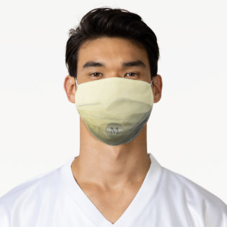Light yellow grey ombre mesh pattern Monogram Adult Cloth Face Mask