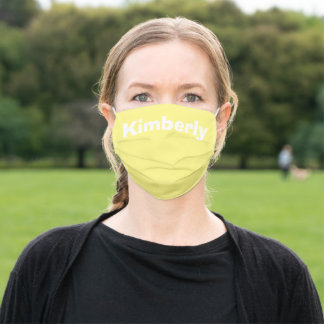 Light Yellow Personalized Name Cloth Face Mask
