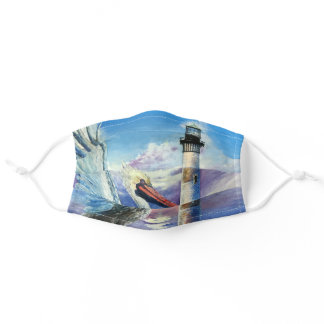 Lighthouse Nautical Oil Painting Bird Beach Blue Adult Cloth Face Mask