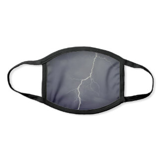 Lightning Photo Grey Stormy Sky with Thunderbolt Face Mask