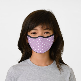 Lilac and White Heart Pattern Premium Face Mask