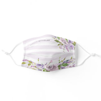 Lilac Floral and Stripes Monogram Adult Cloth Face Mask