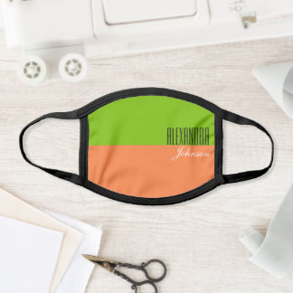 Lime Green and Orange Modern Monogram Face Mask