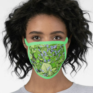 LIME=GREEN FOLIAGE AND DAINTY PERIWINKLE BLUE FLOW FACE MASK