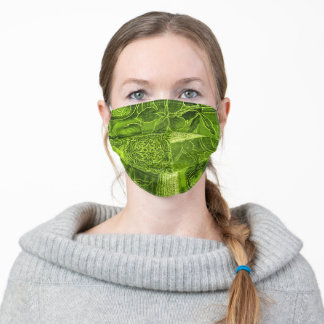 Lime Green Patchwork Fabric Texture Face Mask