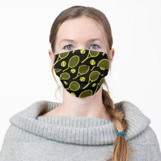Lime tennis rackets on black adult cloth face mask