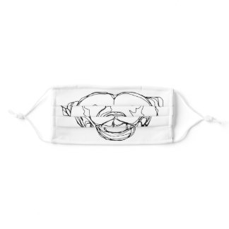 Line-work Staffy Adult Cloth Face Mask