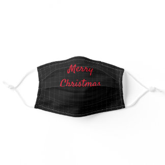 Lines Geometric Patterns Merry Christmas Black Adult Cloth Face Mask