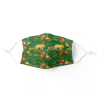 Lion Big Cat Exotic Tropical Leaves Pattern Adult Cloth Face Mask