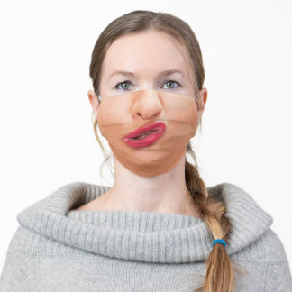 Lips Kissing Mouth Funny Female Woman Fun Face Adult Cloth Face Mask