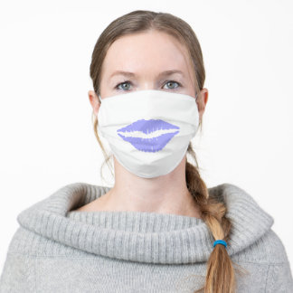 Lips Mouth Kiss Light Blue Adult Cloth Face Mask