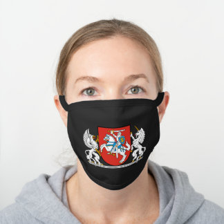 Lithuanian coat of arms black cotton face mask