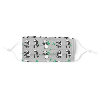 Little cute pandas seamless pattern adult cloth face mask