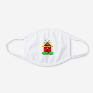 Little Red Schoolhouse School Theme Teacher Gift White Cotton Face Mask