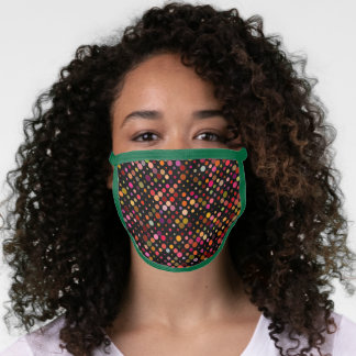 Lively Green Trim Dotted Pattern Face Mask