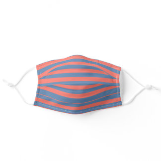 Living Coral and Pacific blue Horizontal Lines Adult Cloth Face Mask