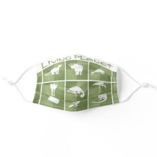 Living Planet animal silhouette pattern green moss Adult Cloth Face Mask